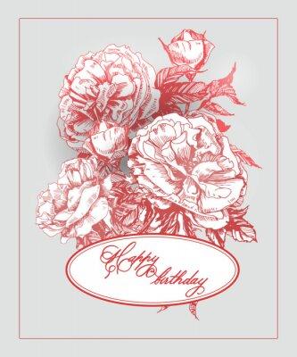 Sticker Carte d'anniversaire de cru avec fleur rose et papillons. (Utilisation pour carte d'embarquement, carte d'anniversaire, invitations, carte de remerciement.) Vector illustration.