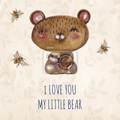 Carte d'invitation de mariage avec des ours en peluche mignons couple.