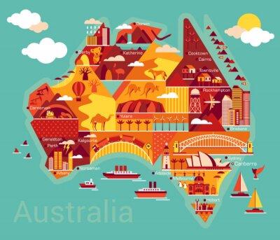 Sticker Carte de bande dessinée de l'Australie