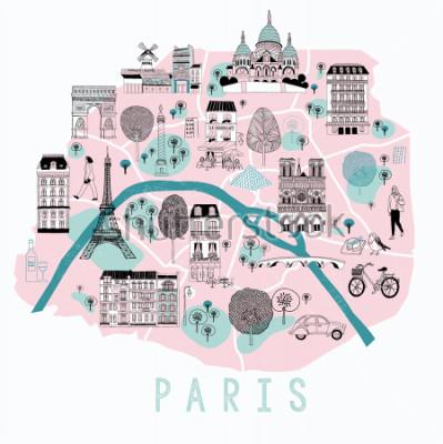 Sticker Carte de dessin animé de paris avec des icônes de légende. Design d'impression