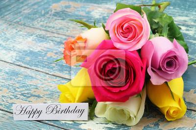 Carte Anniversaire Bouquet De Roses.Sticker Carte De Joyeux Anniversaire Avec Bouquet De Roses Colorees Sur