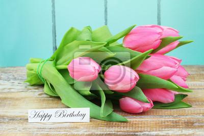 Carte Anniversaire Bouquet De Roses.Sticker Carte De Joyeux Anniversaire Avec Bouquet De Tulipes Roses