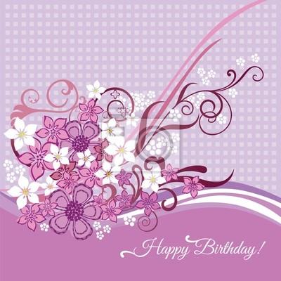 Carte De Joyeux Anniversaire Avec Des Fleurs Roses Et Blanches