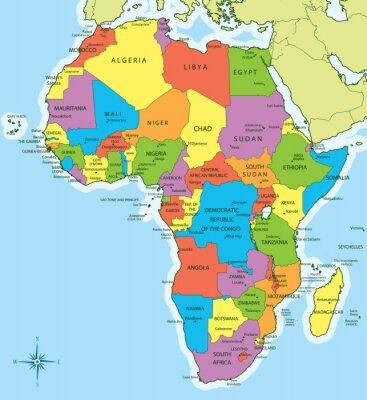 Sticker Carte de l'Afrique avec les pays et les villes