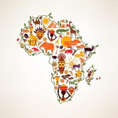 Sticker Carte de l'Afrique de Voyage, symbole decrative de l'Afrique continent avec l'ETH