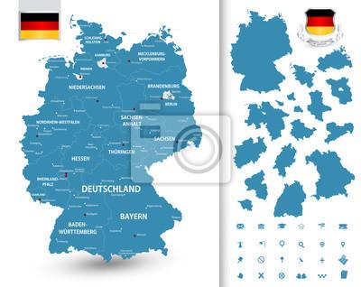 Carte de l'Allemagne avec ses Etats fédéraux