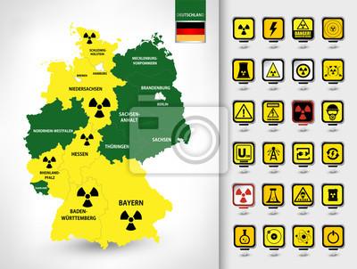 Carte de l'Allemagne. Ensemble de la centrale nucléaire