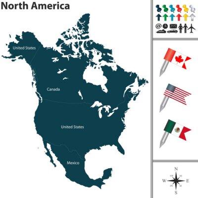 Sticker Carte de l'Amérique du Nord