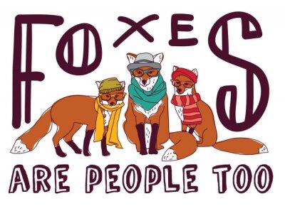 Sticker Carte de l'animal d'affiche de signe de divertissement de renard de hipster.