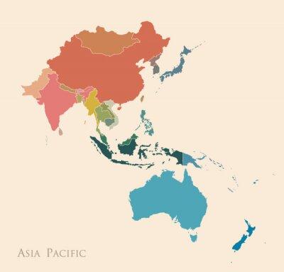 Sticker Carte de l'Asie-Pacifique