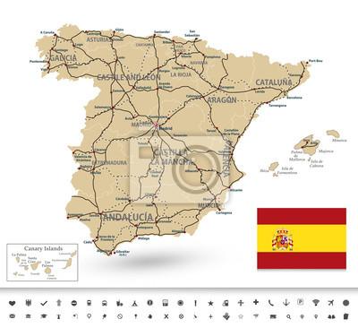 Carte de l'Espagne avec des pictogrammes marqueurs