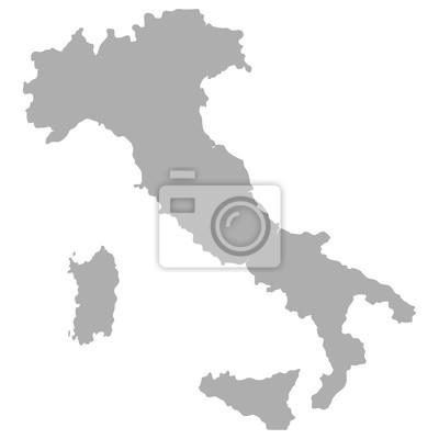 Carte de l'Italie en gris sur un fond blanc
