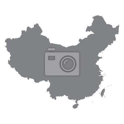 Carte de la Chine en gris sur un fond blanc