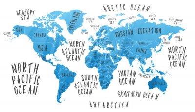 Sticker Carte de la Terre avec le nom des pays