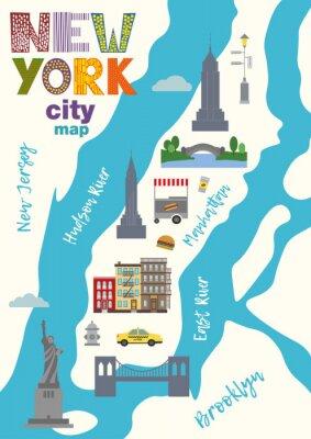Sticker Carte de la ville de Manhattan of New York City