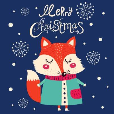 Sticker Carte de Noël avec mignon