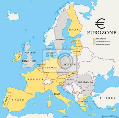 Sticker Carte de pays de la zone euro