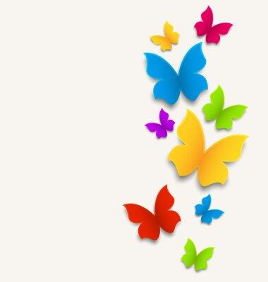 Sticker carte de printemps avec des papillons, composition colorée