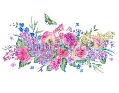 Sticker Carte de souhaits aquarelle vintage décorative avec des roses roses et des lilas, des fleurs, des feuilles et des bourgeons, illustration florale botanique isolée sur fond blanc