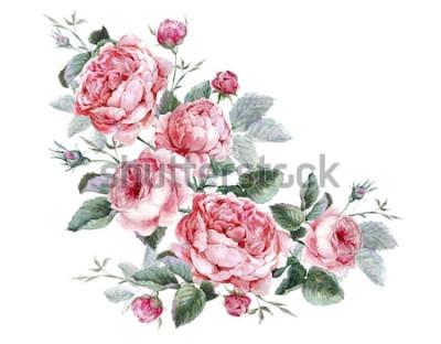 Sticker Carte de souhaits floral vintage classique, bouquet aquarelle de roses anglaises, belle illustration aquarelle