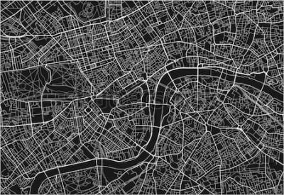 Sticker Carte de ville vecteur noir et blanc de Londres avec des couches séparées bien organisées.