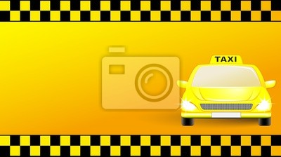 Sticker Carte De Visite Avec La Voiture Taxi Sur Fond Jaune