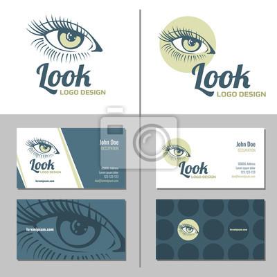 Sticker Carte De Visite Avec Le Logo Doeil Femme Vecteur Modle