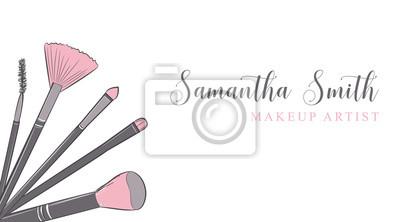 Sticker Carte De Visite Maquilleur Modele Vectoriel Avec Motif Pinceaux Pastels Maquillage
