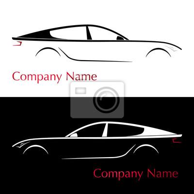 Sticker Carte De Visite Pour La Compagnie Automobile Voiture Silhouette Illustration Vectorielle