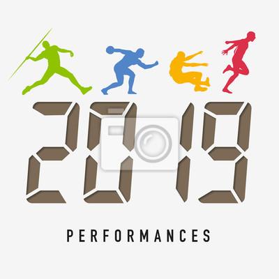 Carte de vœux 2019 sur le concept du sport, de l'athlétisme et de la performance. L'esprit de compétition pour relever les défis de la nouvelle année