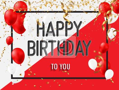 Sticker Carte De Voeux Joyeux Anniversaire Avec Des Ballons Blancs Rouges