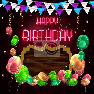 Carte De Voeux Joyeux Anniversaire Avec Luxe Ballons Colores Autocollants Murales Myloview Fr