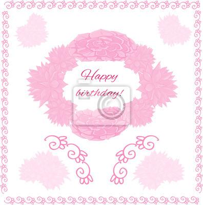 Carte De Voeux Joyeux Anniversaire Rose Echeveria Stickers Pc
