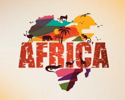 Sticker Carte de voyage de l'Afrique, symbole décoratif du continent africain avec des silhouettes d'animaux sauvages