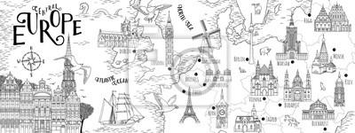 Sticker Carte dessinée à la main de l'Europe centrale avec les capitales et les points de repère sélectionnés, bannière web vintage