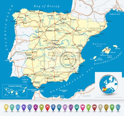 Carte détaillée de l'Espagne avec des icônes de bulles