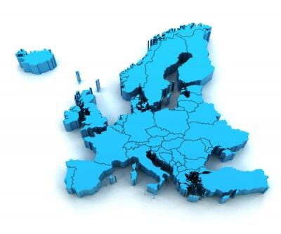 Sticker Carte détaillée l'Europe avec des frontières nationales