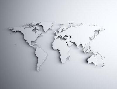 Sticker Carte du monde 3D