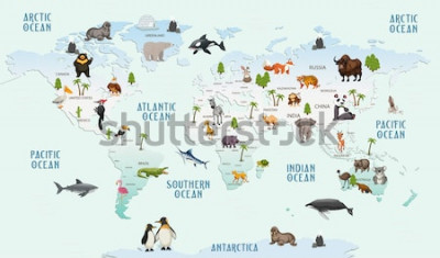 Sticker carte du monde animaux pour papier peint chambre d'enfant