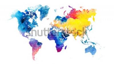 Sticker Carte du monde aquarelle colorée.