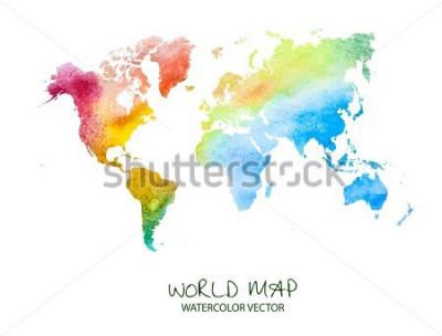 Sticker carte du monde aquarelle dessiné main isolé sur blanc. Version vectorielle