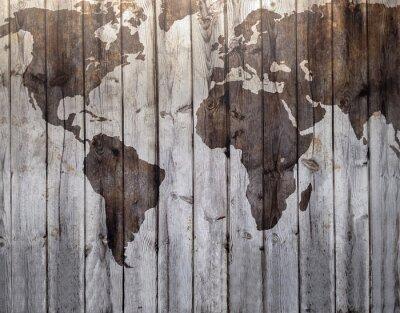 Sticker Carte du monde attirée sur l'effet de bois de toile