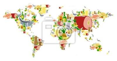Carte du monde avec de la nourriture et des boissons