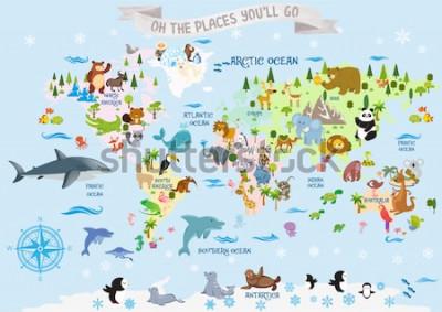 Sticker Carte du monde avec des animaux / Oh les endroits où vous irez