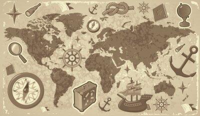 Carte du monde avec des icônes de voyage