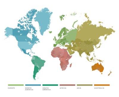 Sticker Carte du monde avec le continent de couleur différente