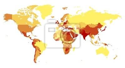 Carte du monde avec les pays de couleurs chaudes