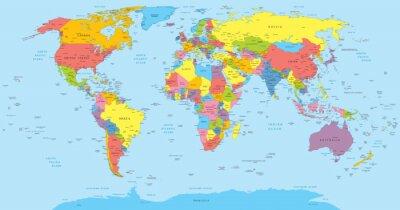 Sticker Carte du monde avec les pays, le pays et les noms de ville