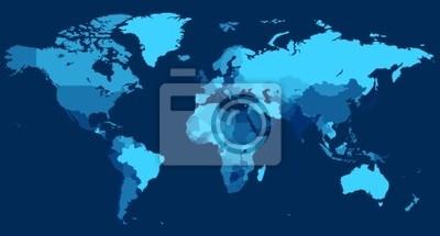 Carte du monde avec les pays sur fond bleu
