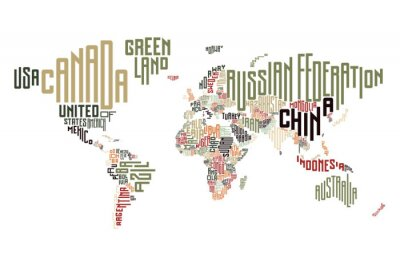 Carte du monde composée de noms de pays typographiques
